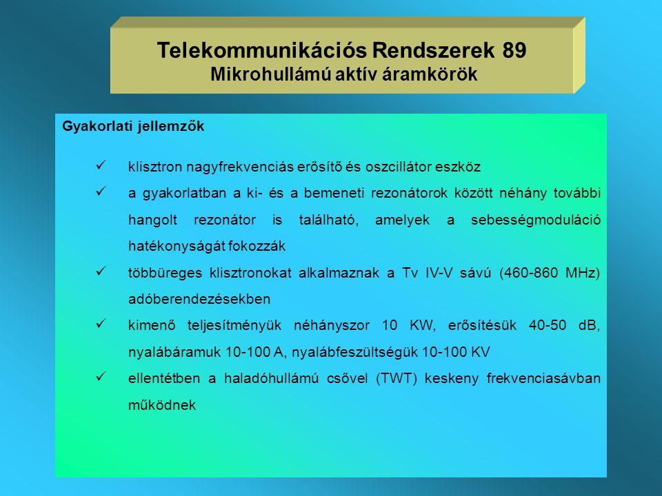 Telekommunikációs Rendszerek 89 Mikrohullámú aktív áramkörök