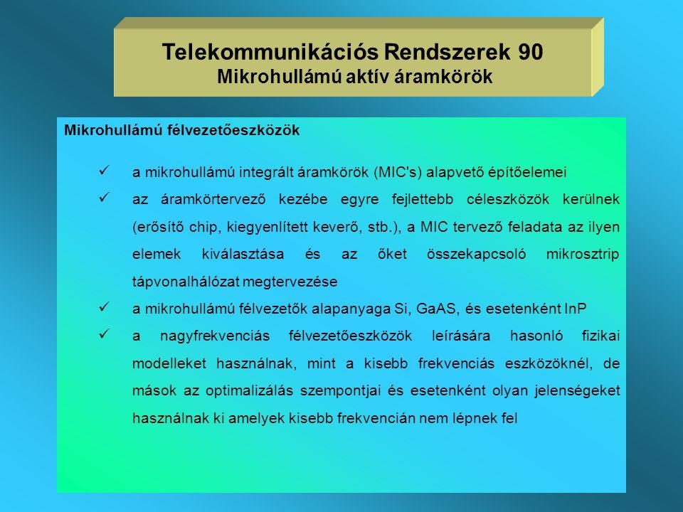 Telekommunikációs Rendszerek 90 Mikrohullámú aktív áramkörök