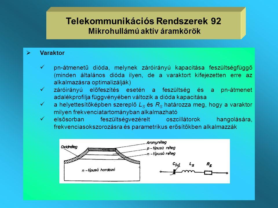 Telekommunikációs Rendszerek 92 Mikrohullámú aktív áramkörök