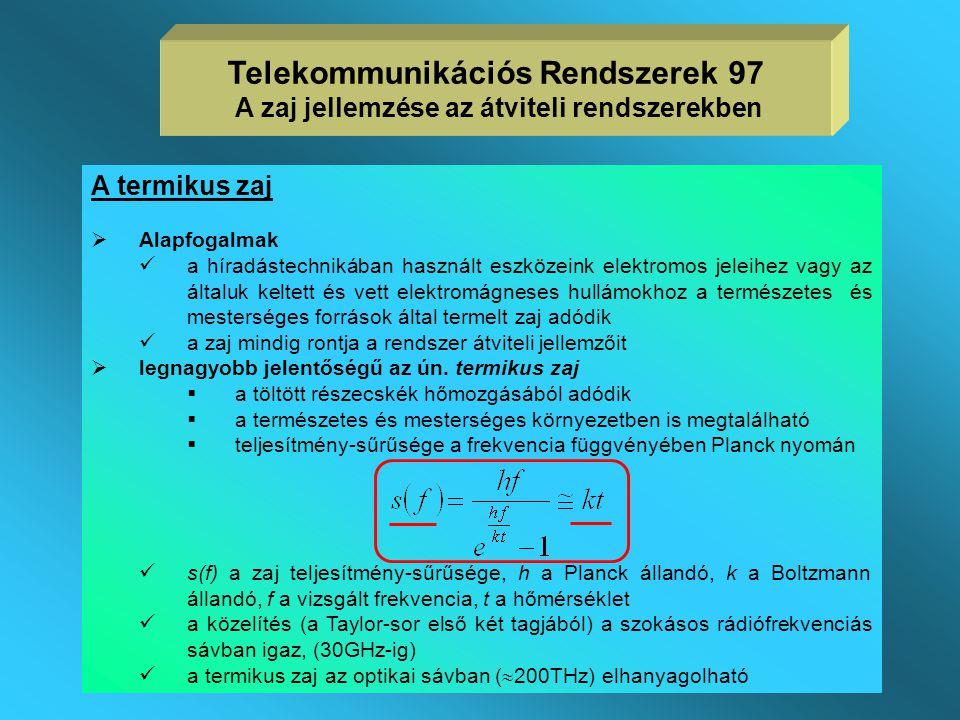 Telekommunikációs Rendszerek 97 A zaj jellemzése az átviteli rendszerekben