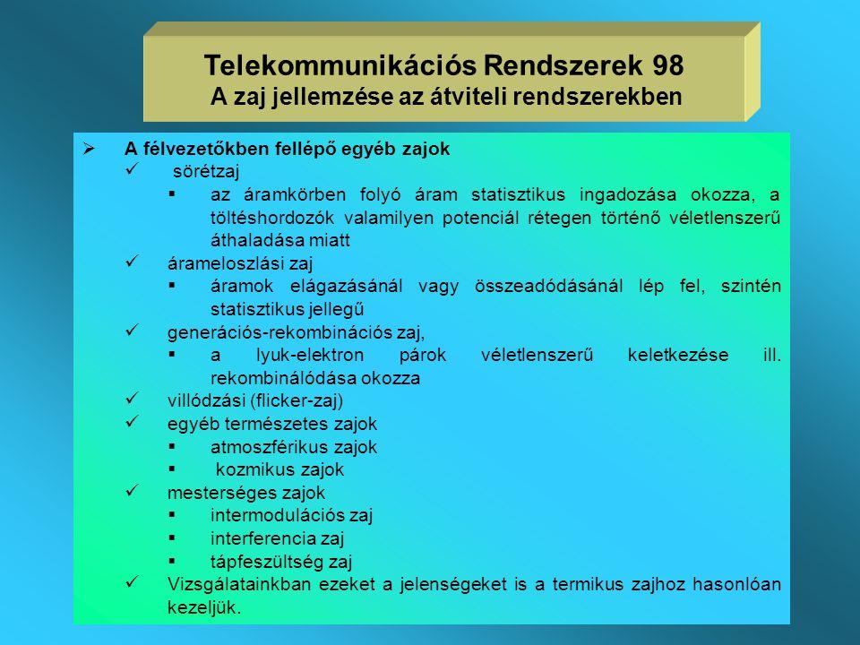Telekommunikációs Rendszerek 98 A zaj jellemzése az átviteli rendszerekben