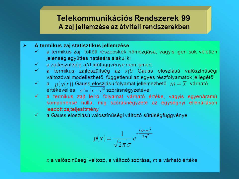 Telekommunikációs Rendszerek 99 A zaj jellemzése az átviteli rendszerekben