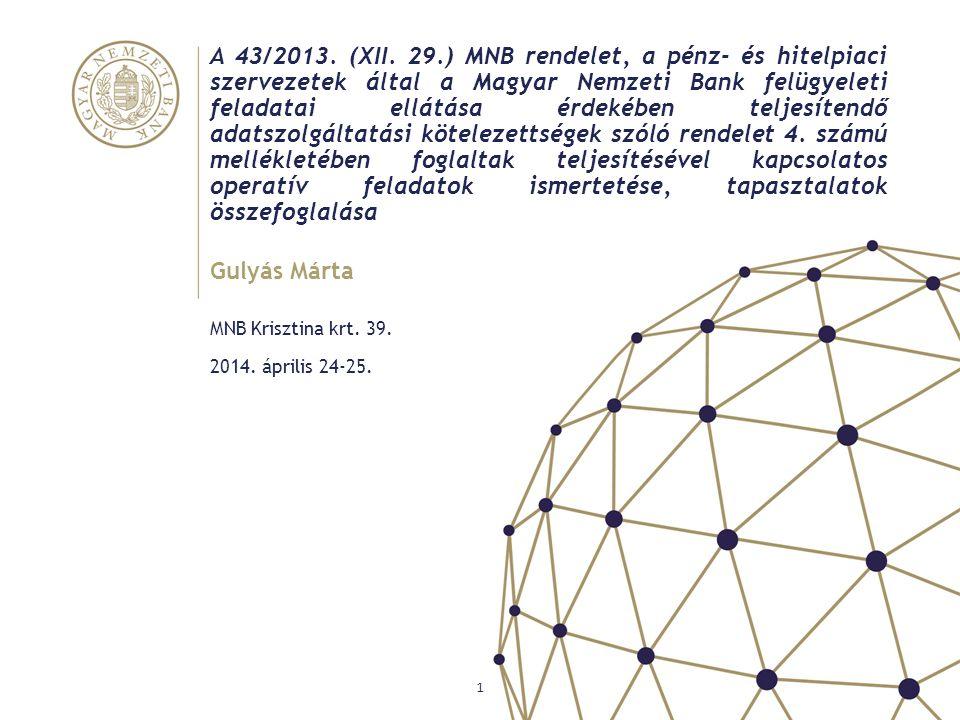 A 43/2013. (XII. 29.) MNB rendelet, a pénz- és hitelpiaci szervezetek által a Magyar Nemzeti Bank felügyeleti feladatai ellátása érdekében teljesítendő adatszolgáltatási kötelezettségek szóló rendelet 4. számú mellékletében foglaltak teljesítésével kapcsolatos operatív feladatok ismertetése, tapasztalatok összefoglalása