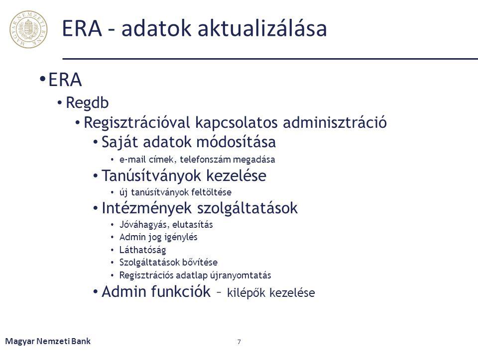 ERA - adatok aktualizálása