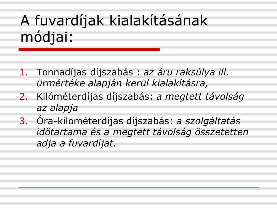 A fuvardíjak kialakításának módjai: