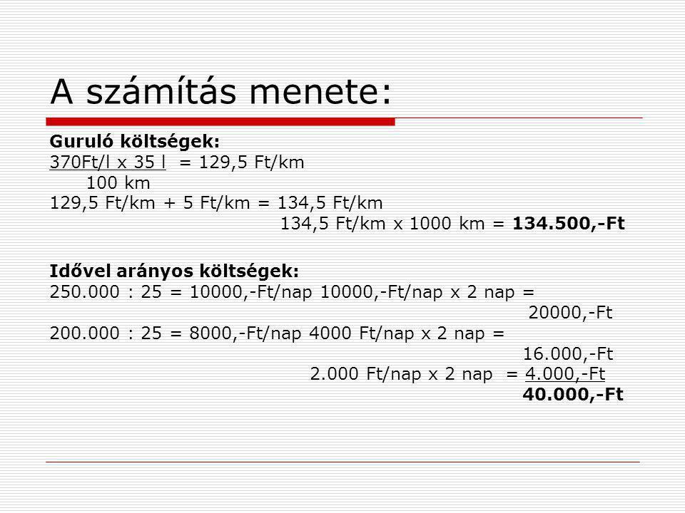A számítás menete: Guruló költségek: 370Ft/l x 35 l = 129,5 Ft/km