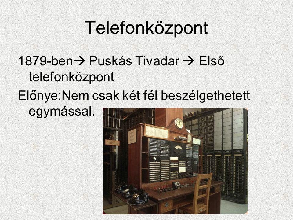 Telefonközpont 1879-ben Puskás Tivadar  Első telefonközpont