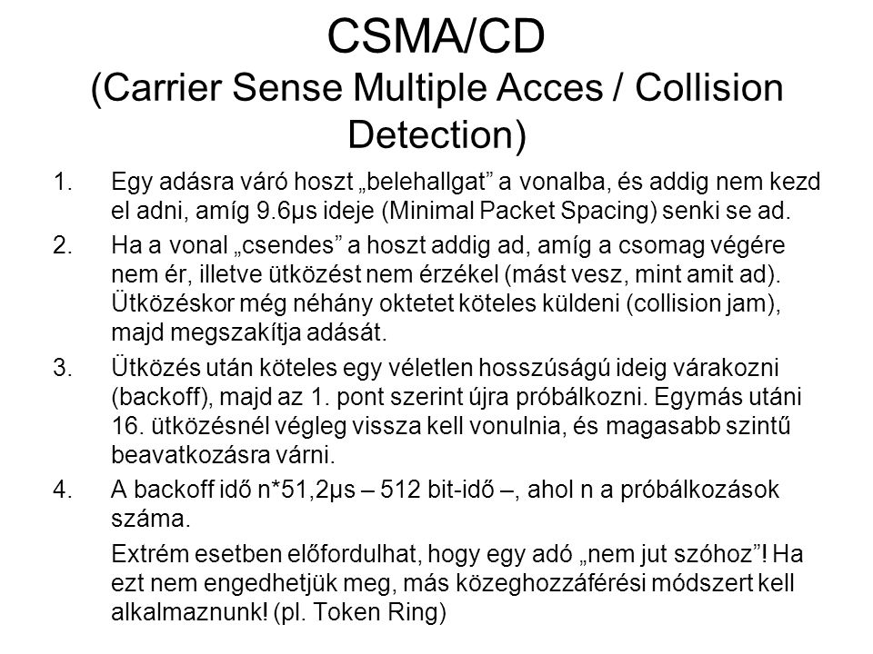 CSMA/CD (Carrier Sense Multiple Acces / Collision Detection)
