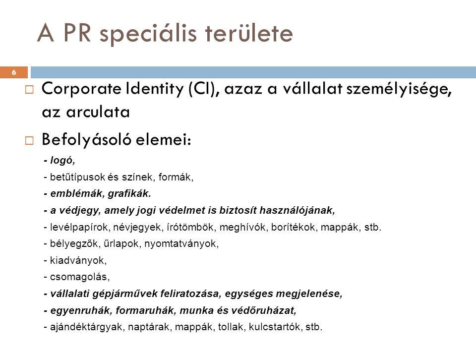 A PR speciális területe
