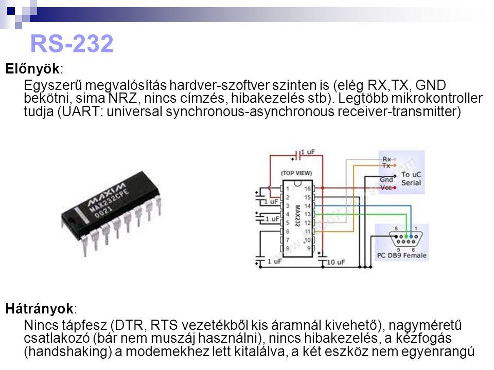 RS-232 Előnyök:
