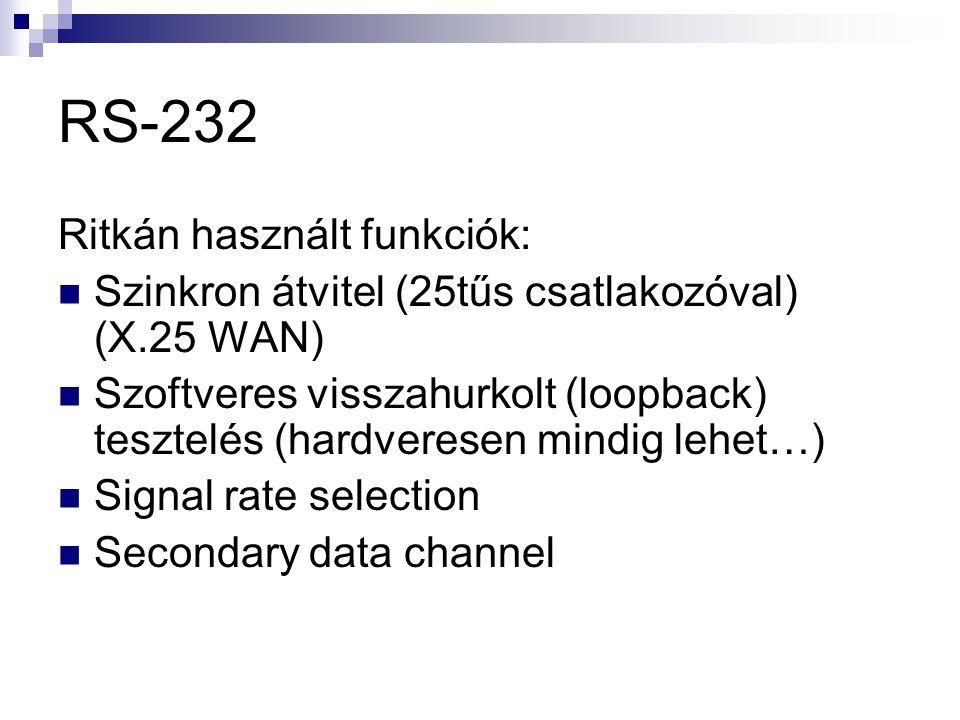 RS-232 Ritkán használt funkciók: