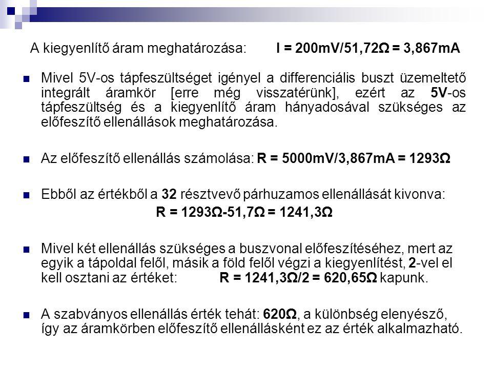 A kiegyenlítő áram meghatározása: I = 200mV/51,72Ω = 3,867mA