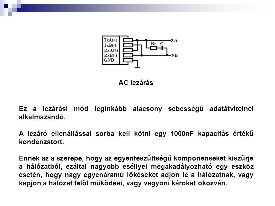 AC lezárás Ez a lezárási mód leginkább alacsony sebességű adatátvitelnél alkalmazandó.