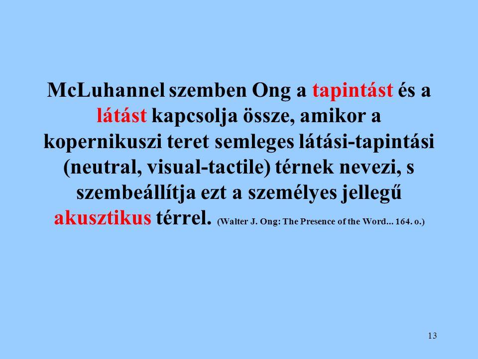 McLuhannel szemben Ong a tapintást és a látást kapcsolja össze, amikor a kopernikuszi teret semleges látási-tapintási (neutral, visual-tactile) térnek nevezi, s szembeállítja ezt a személyes jellegű akusztikus térrel.