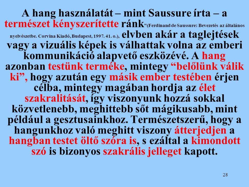 A hang használatát – mint Saussure írta – a természet kényszerítette ránk (Ferdinand de Saussure: Bevezetés az általános nyelvészetbe.