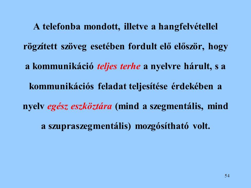 A telefonba mondott, illetve a hangfelvétellel rögzített szöveg esetében fordult elő először, hogy a kommunikáció teljes terhe a nyelvre hárult, s a kommunikációs feladat teljesítése érdekében a nyelv egész eszköztára (mind a szegmentális, mind a szupraszegmentális) mozgósítható volt.