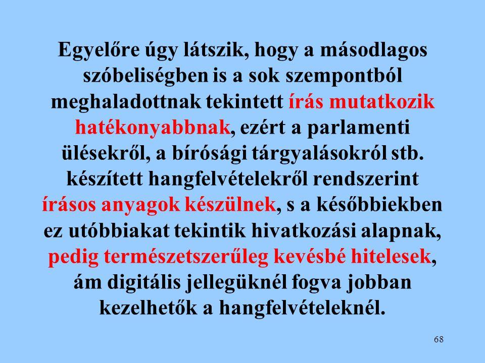 Egyelőre úgy látszik, hogy a másodlagos szóbeliségben is a sok szempontból meghaladottnak tekintett írás mutatkozik hatékonyabbnak, ezért a parlamenti ülésekről, a bírósági tárgyalásokról stb.