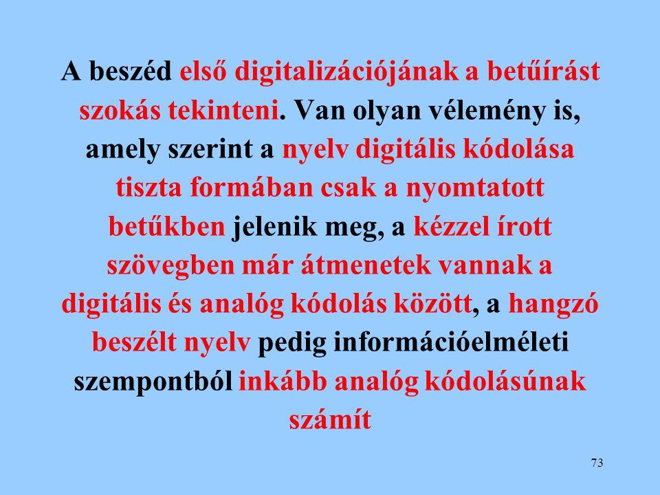A beszéd első digitalizációjának a betűírást szokás tekinteni