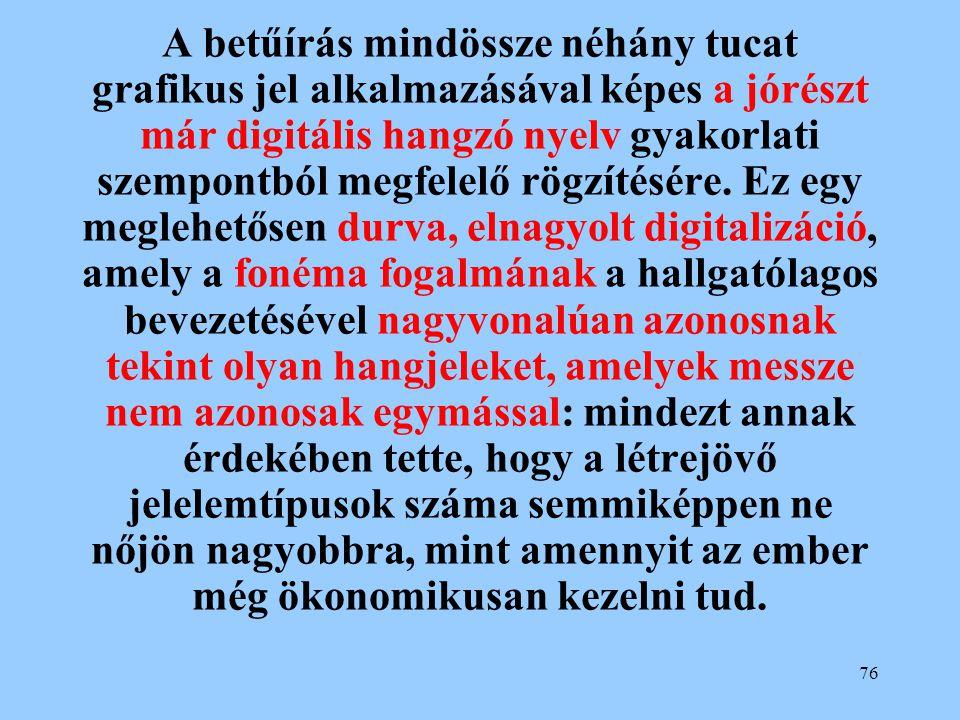 A betűírás mindössze néhány tucat grafikus jel alkalmazásával képes a jórészt már digitális hangzó nyelv gyakorlati szempontból megfelelő rögzítésére.