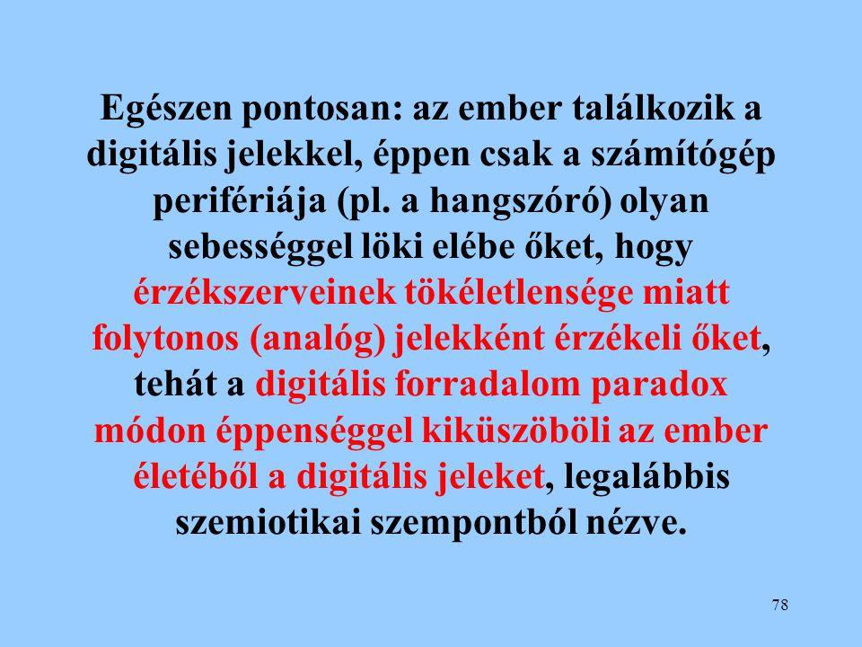 Egészen pontosan: az ember találkozik a digitális jelekkel, éppen csak a számítógép perifériája (pl.