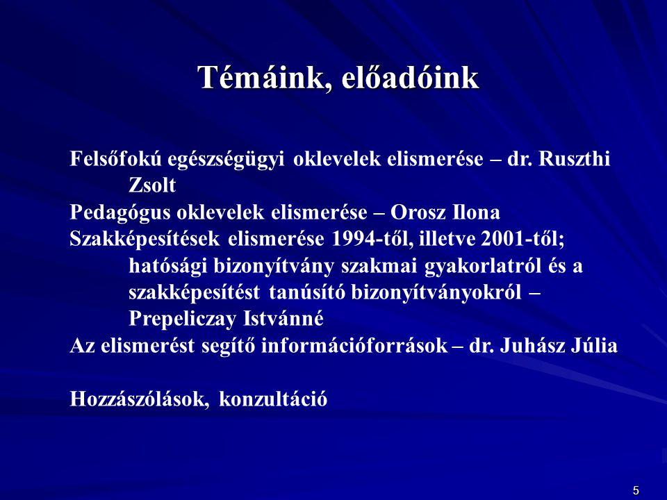 Témáink, előadóink Felsőfokú egészségügyi oklevelek elismerése – dr. Ruszthi Zsolt. Pedagógus oklevelek elismerése – Orosz Ilona.