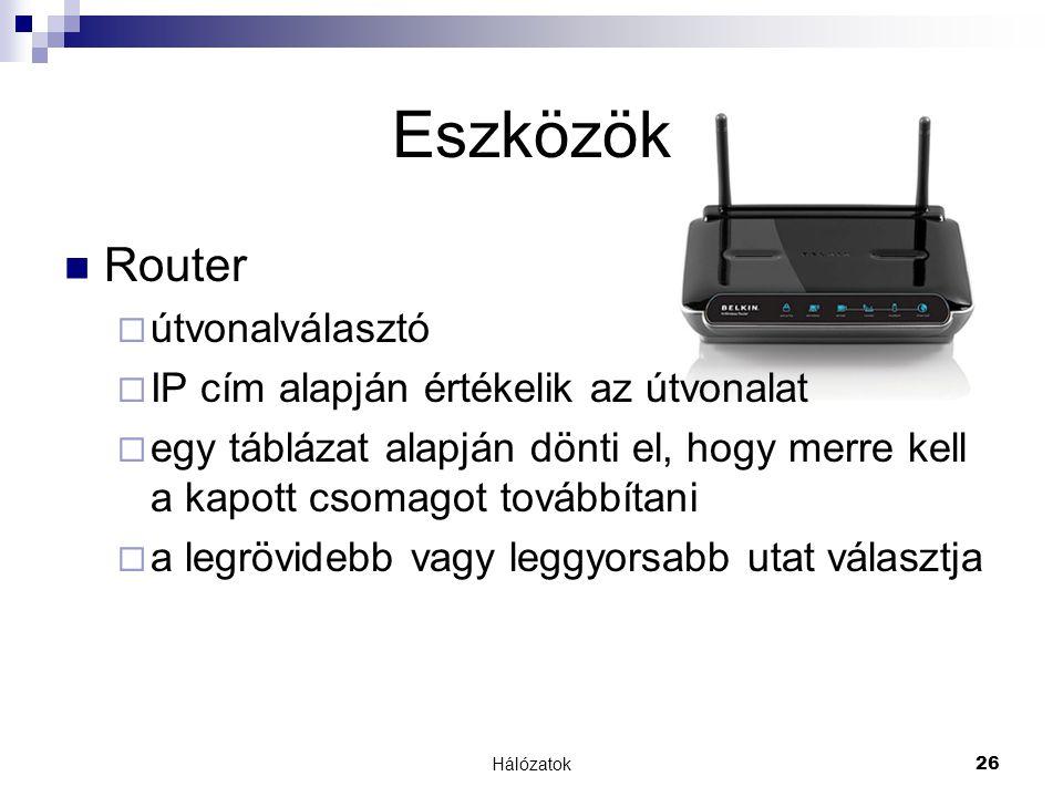 Eszközök Router útvonalválasztó IP cím alapján értékelik az útvonalat