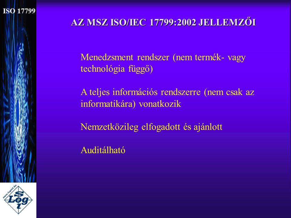 AZ MSZ ISO/IEC 17799:2002 JELLEMZŐI