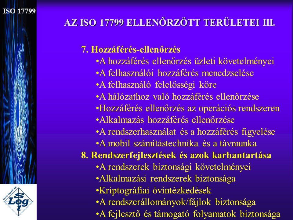AZ ISO 17799 ELLENŐRZÖTT TERÜLETEI III.