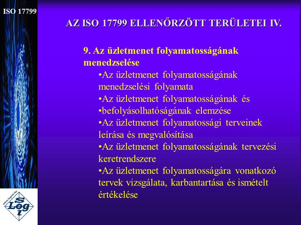 AZ ISO 17799 ELLENŐRZÖTT TERÜLETEI IV.