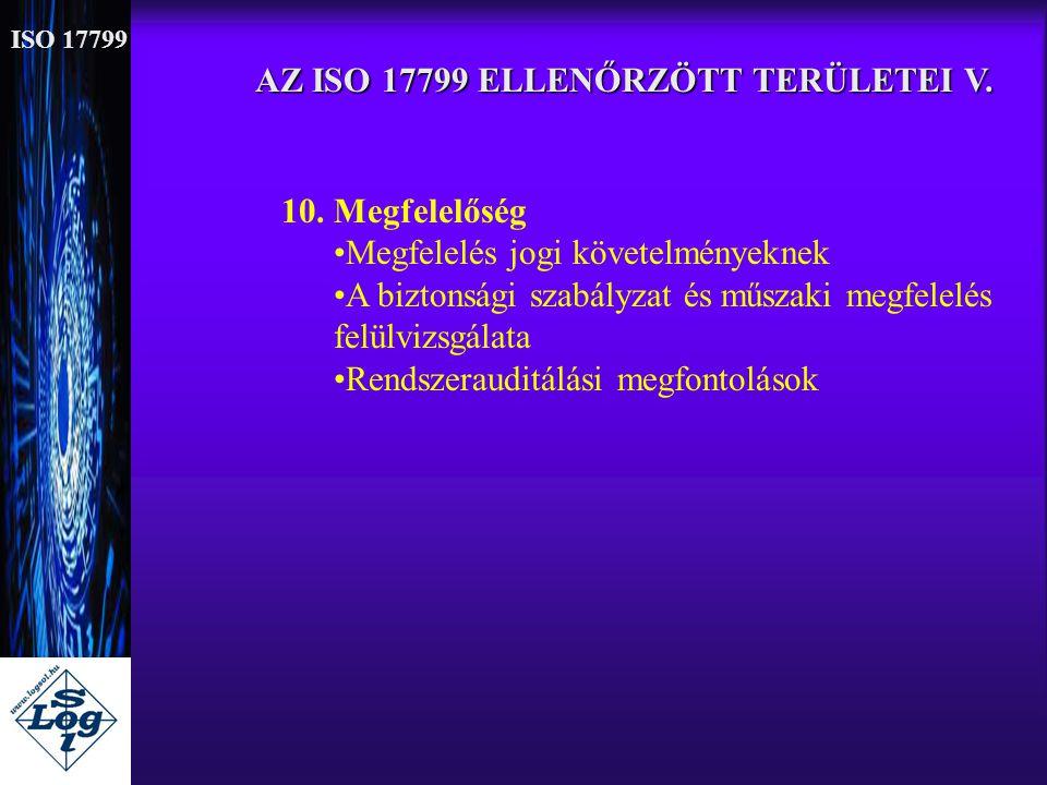 AZ ISO 17799 ELLENŐRZÖTT TERÜLETEI V.