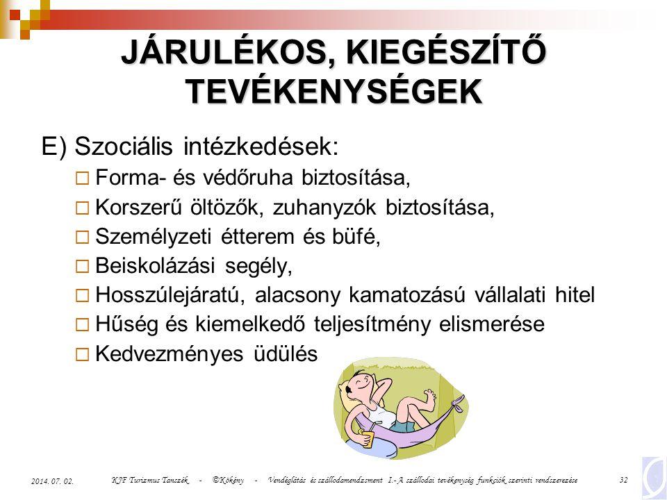 JÁRULÉKOS, KIEGÉSZÍTŐ TEVÉKENYSÉGEK