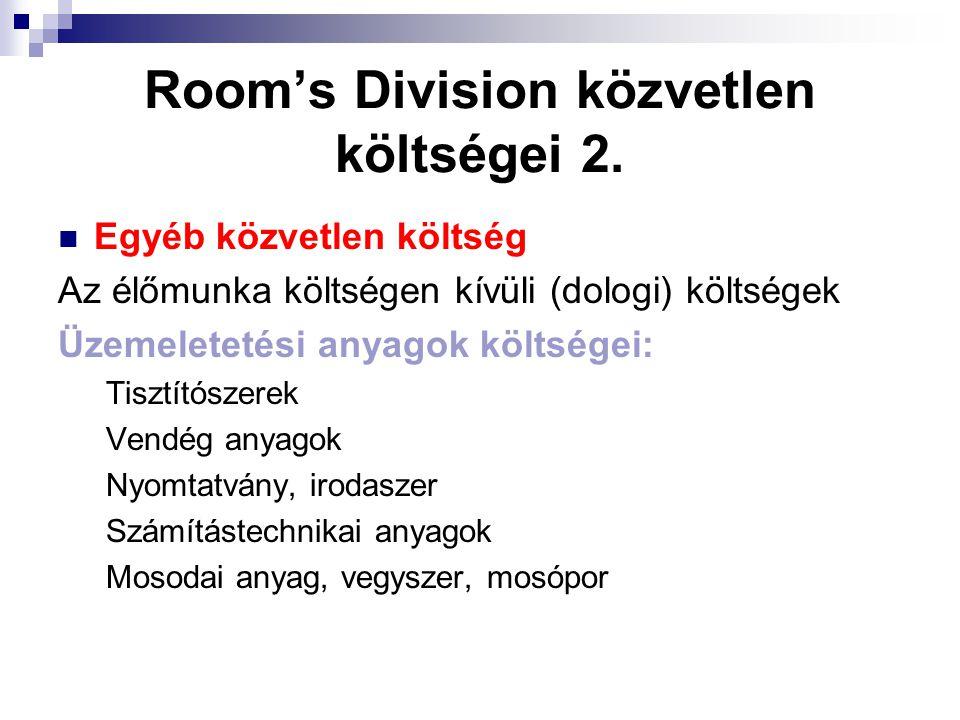 Room's Division közvetlen költségei 2.
