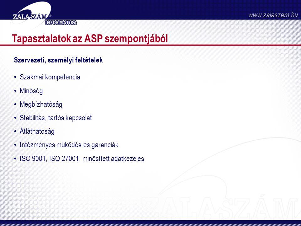 Tapasztalatok az ASP szempontjából