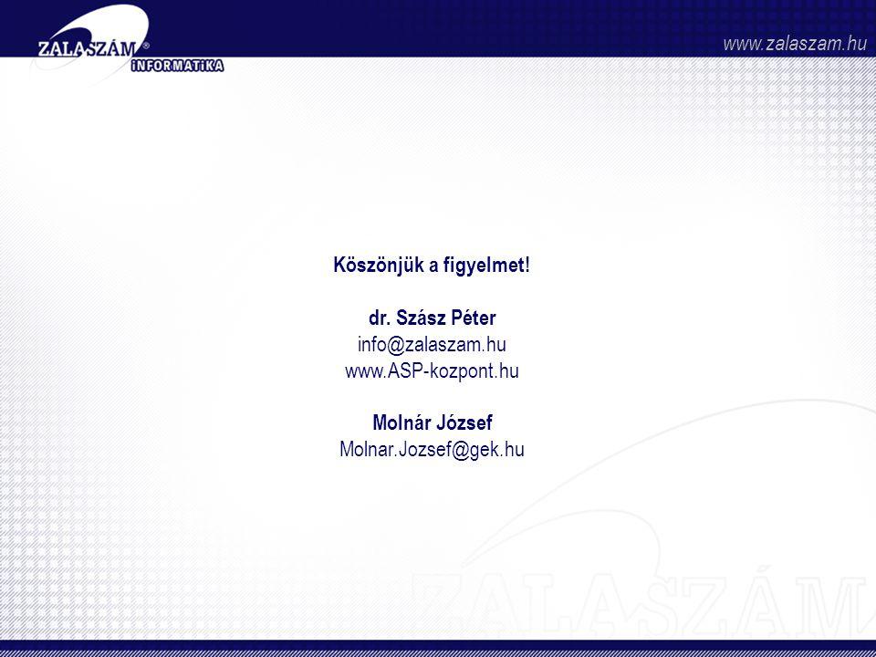 www.zalaszam.hu Köszönjük a figyelmet! dr. Szász Péter. info@zalaszam.hu. www.ASP-kozpont.hu. Molnár József.