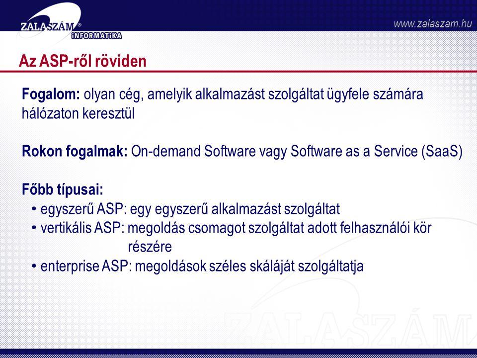 www.zalaszam.hu Az ASP-ről röviden. Fogalom: olyan cég, amelyik alkalmazást szolgáltat ügyfele számára hálózaton keresztül.