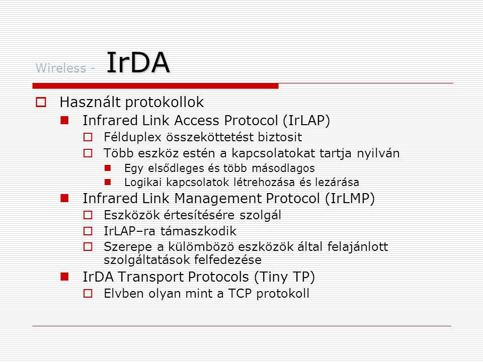 Használt protokollok Infrared Link Access Protocol (IrLAP)