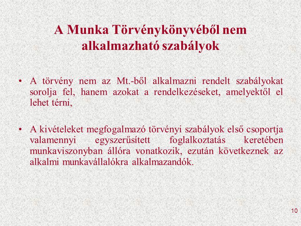 A Munka Törvénykönyvéből nem alkalmazható szabályok