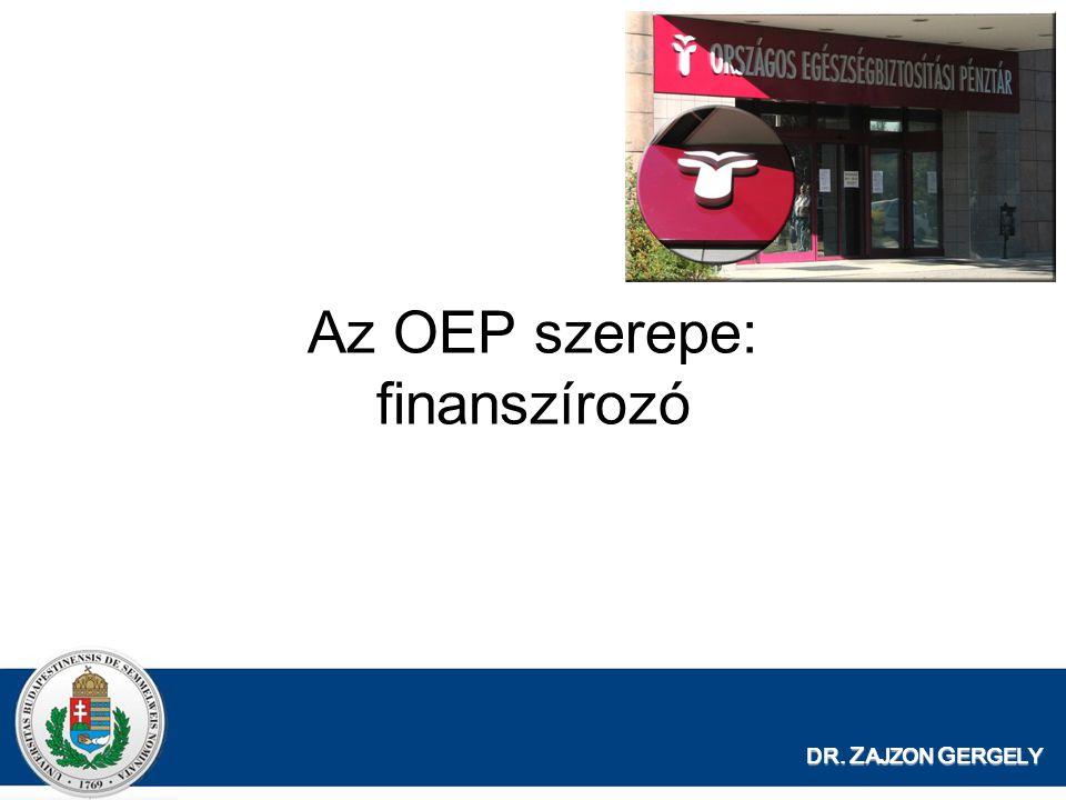 Az OEP szerepe: finanszírozó