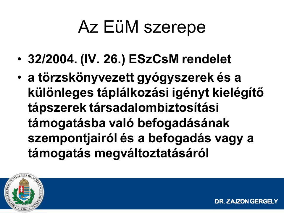 Az EüM szerepe 32/2004. (IV. 26.) ESzCsM rendelet