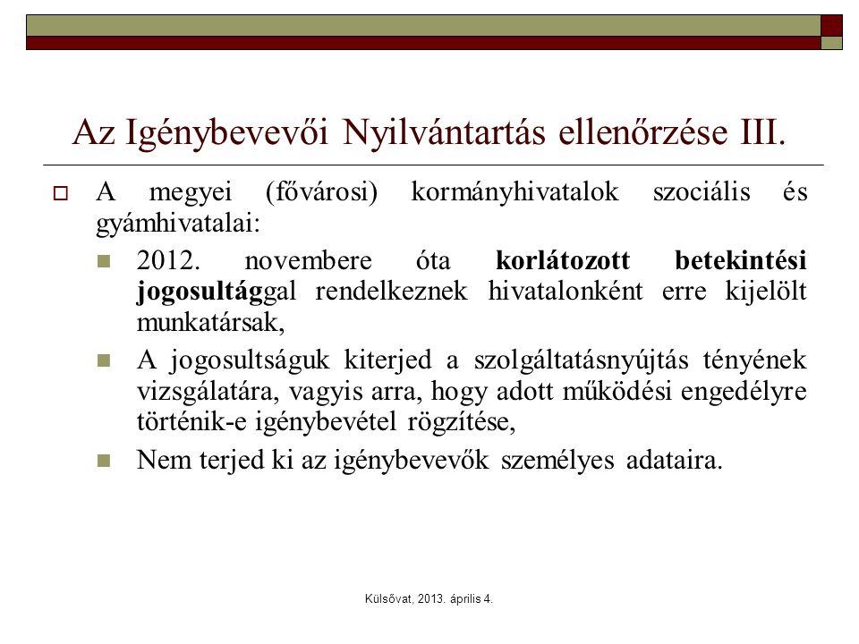 Az Igénybevevői Nyilvántartás ellenőrzése III.