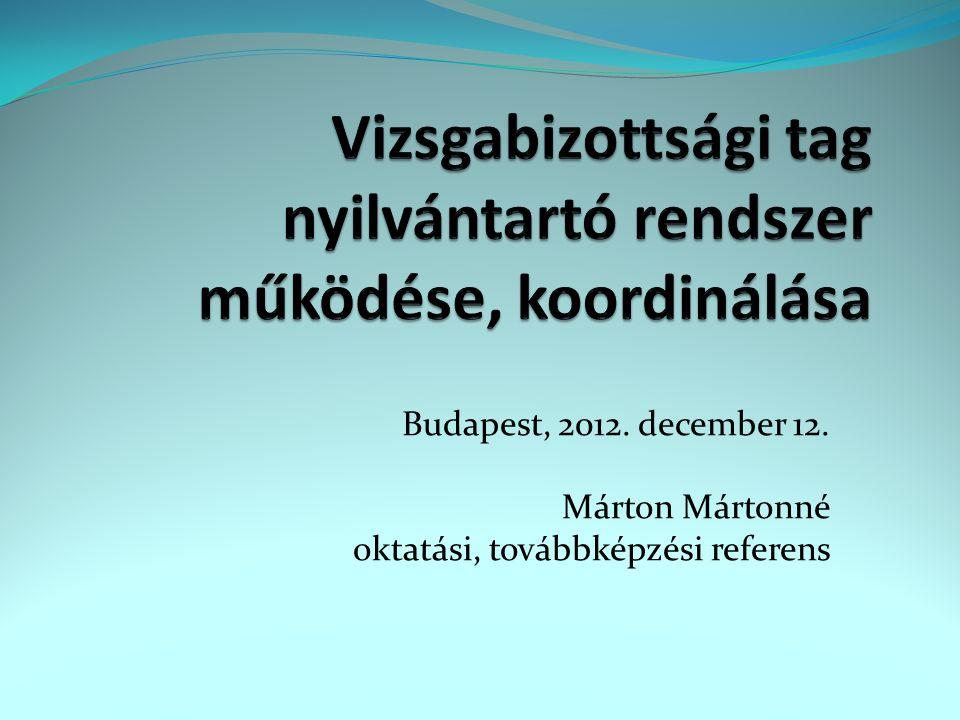Vizsgabizottsági tag nyilvántartó rendszer működése, koordinálása