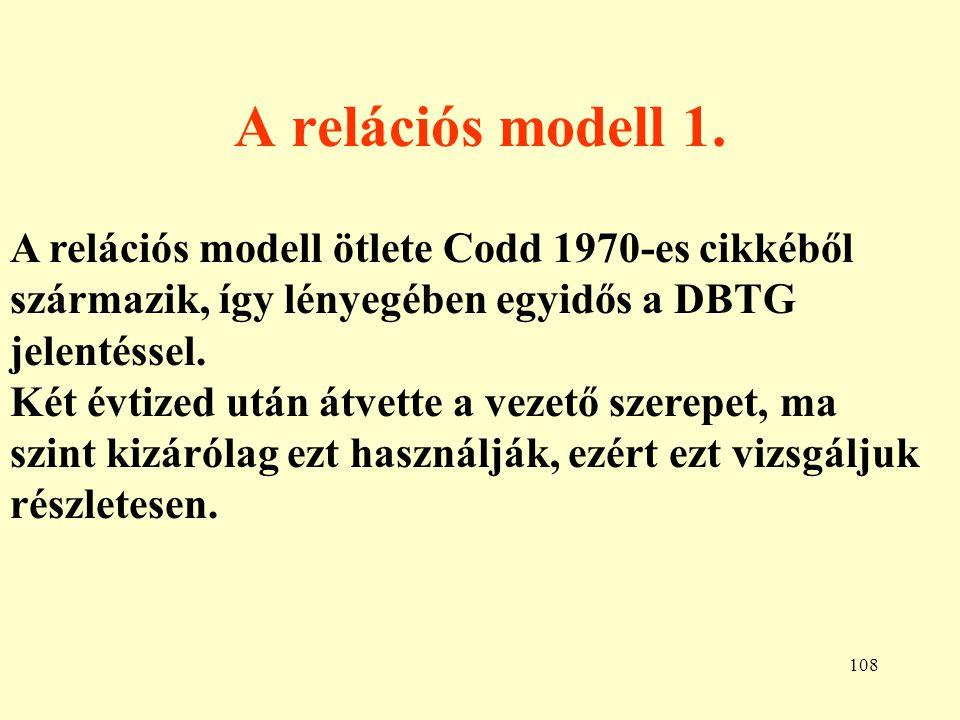 A relációs modell 1. A relációs modell ötlete Codd 1970-es cikkéből származik, így lényegében egyidős a DBTG jelentéssel.
