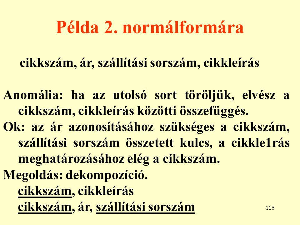 Példa 2. normálformára cikkszám, ár, szállítási sorszám, cikkleírás