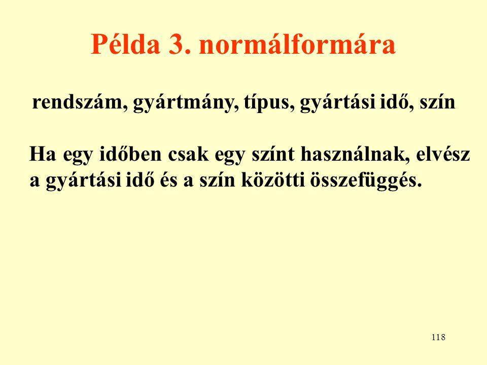 Példa 3. normálformára rendszám, gyártmány, típus, gyártási idő, szín