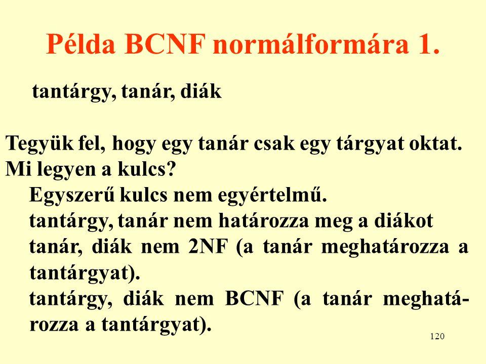Példa BCNF normálformára 1.