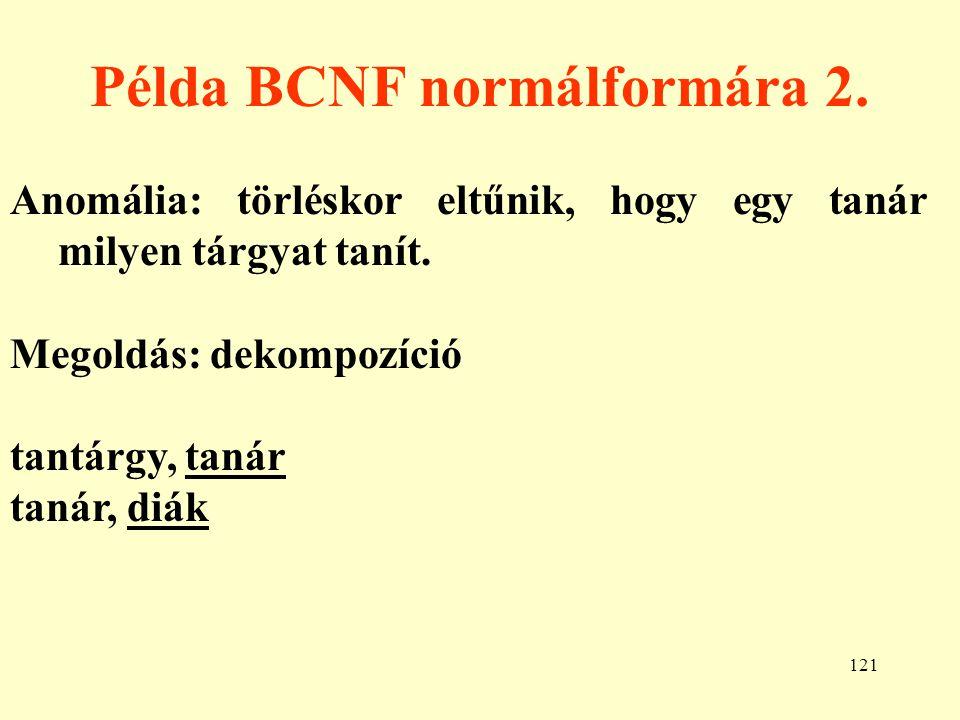 Példa BCNF normálformára 2.
