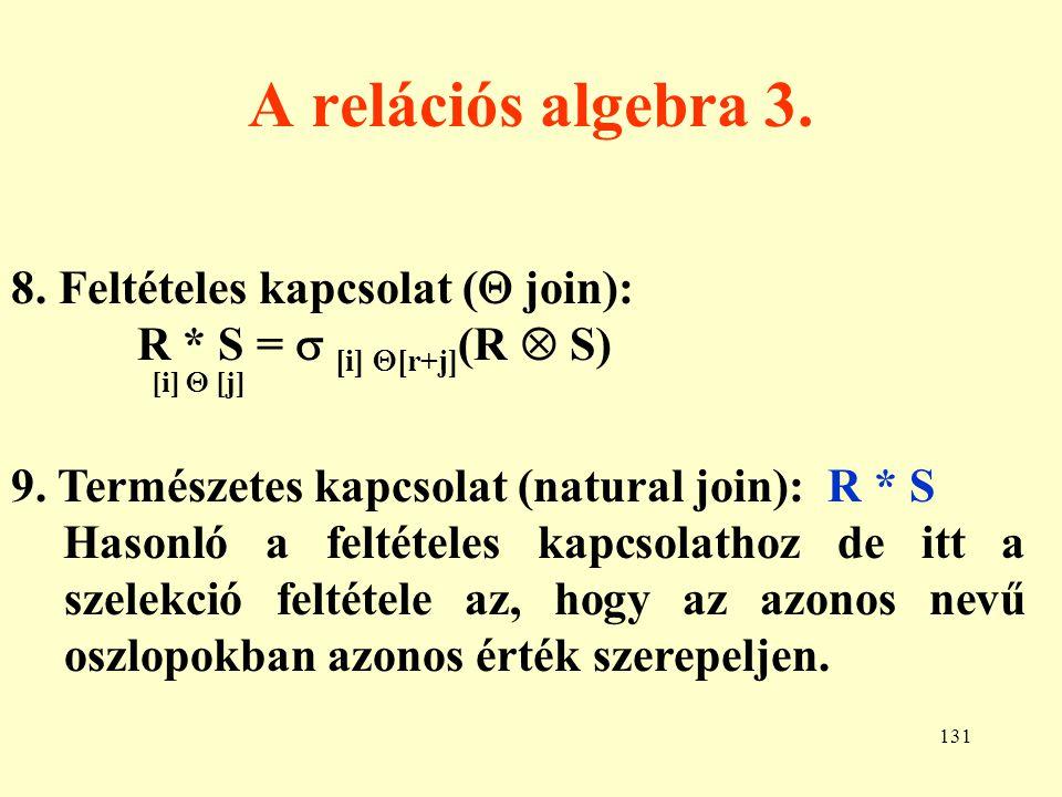 A relációs algebra 3. 8. Feltételes kapcsolat ( join):