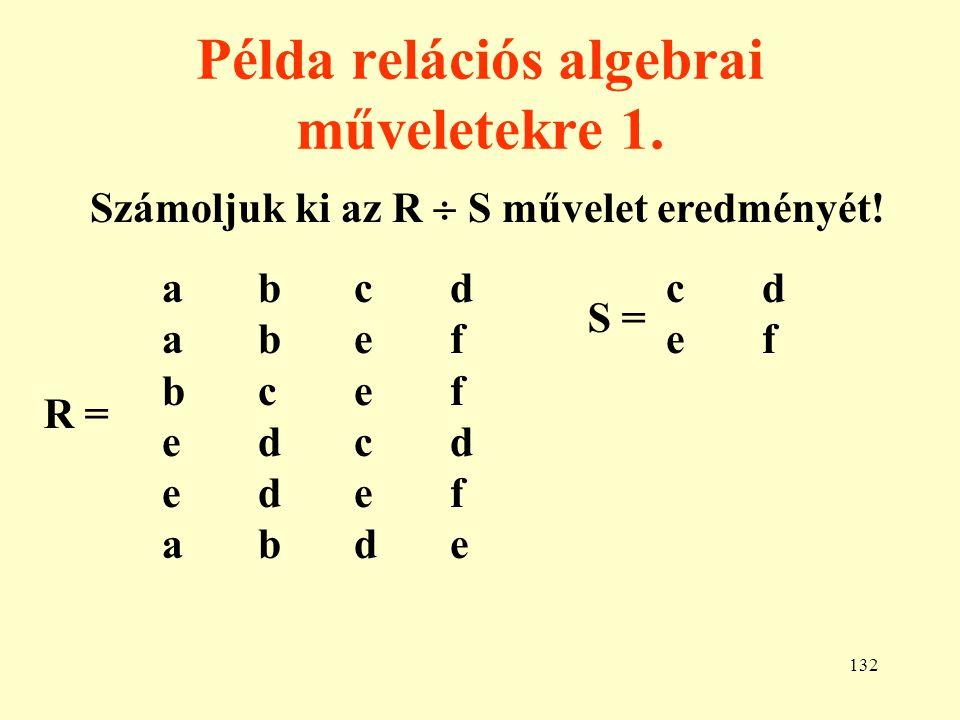 Példa relációs algebrai műveletekre 1.