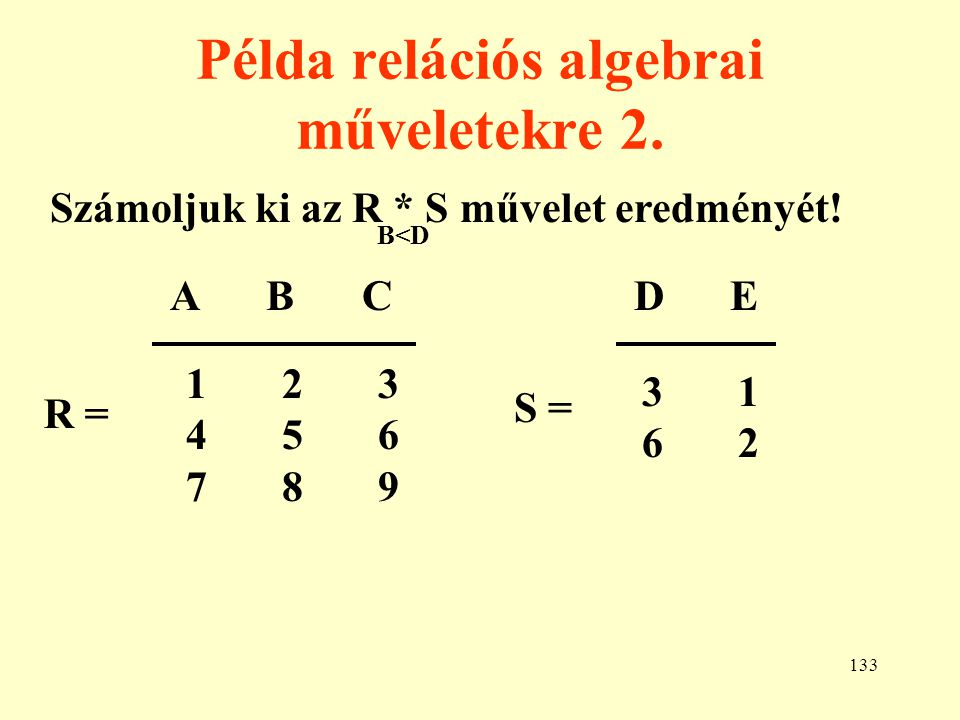 Példa relációs algebrai műveletekre 2.