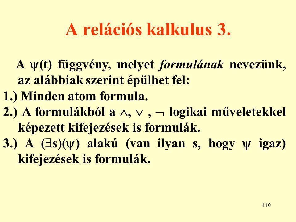 A relációs kalkulus 3. A (t) függvény, melyet formulának nevezünk, az alábbiak szerint épülhet fel: